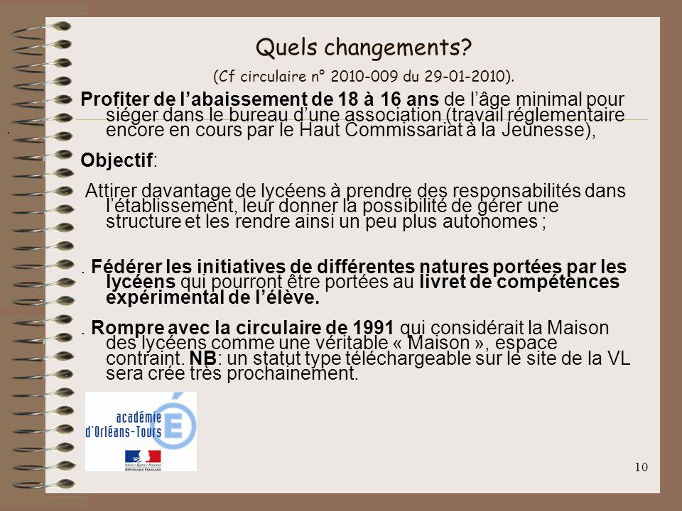 10 Quels changements? (Cf circulaire n° 2010-009 du 29-01-2010). Profiter de labaissement de 18 à 16 ans de lâge minimal pour siéger dans le bureau du