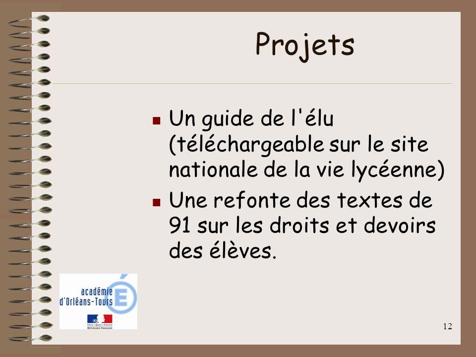 12 Projets Un guide de l'élu (téléchargeable sur le site nationale de la vie lycéenne) Une refonte des textes de 91 sur les droits et devoirs des élèv