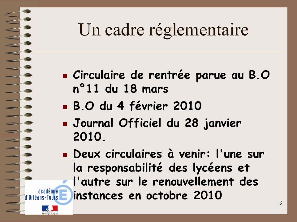 3 Un cadre réglementaire Circulaire de rentrée parue au B.O n°11 du 18 mars B.O du 4 février 2010 Journal Officiel du 28 janvier 2010. Deux circulaire