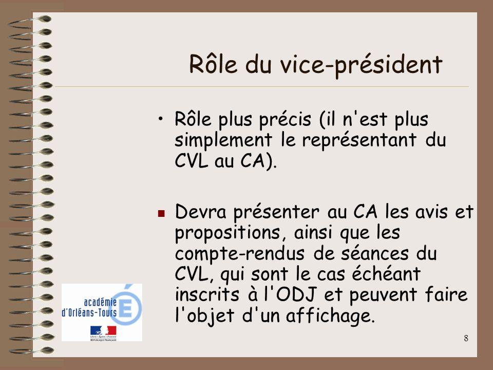 8 Rôle du vice-président Rôle plus précis (il n'est plus simplement le représentant du CVL au CA). Devra présenter au CA les avis et propositions, ain