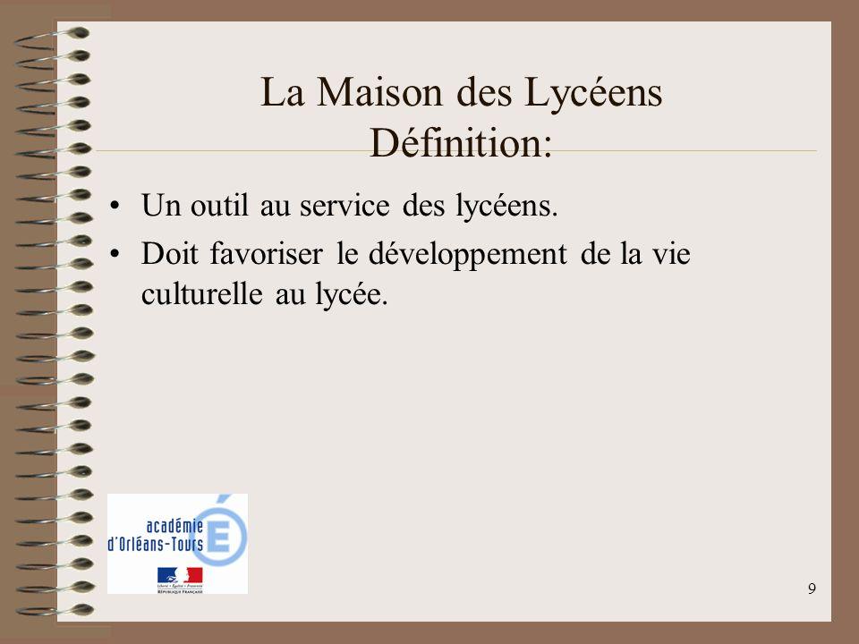 9 La Maison des Lycéens Définition: Un outil au service des lycéens. Doit favoriser le développement de la vie culturelle au lycée.