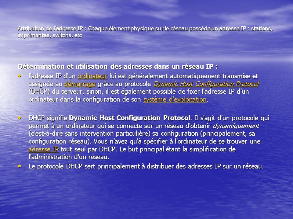 Attribution de ladresse IP : Chaque élément physique sur le réseau possède un adresse IP : stations, imprimantes, switchs, etc Détermination et utilis