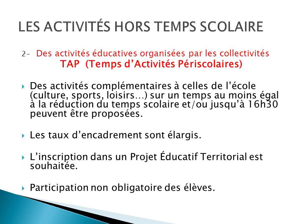 2- Des activités éducatives organisées par les collectivités TAP (Temps dActivités Périscolaires) Des activités complémentaires à celles de lécole (culture, sports, loisirs…) sur un temps au moins égal à la réduction du temps scolaire et/ou jusquà 16h30 peuvent être proposées.