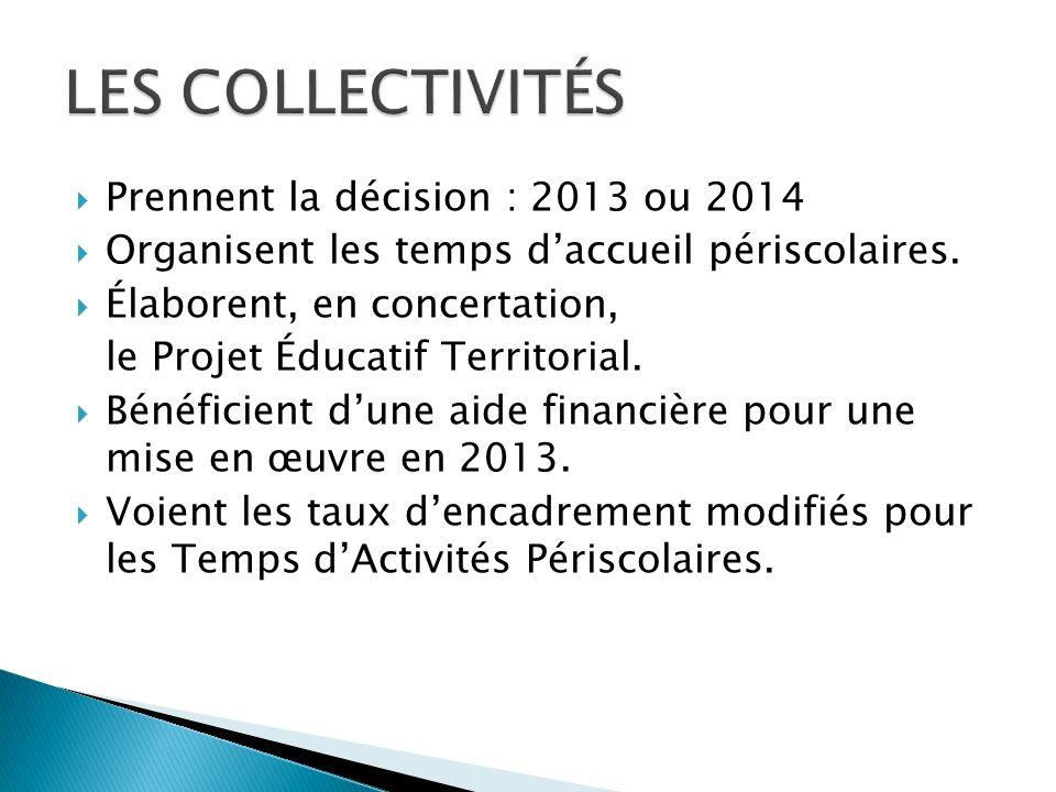 Prennent la décision : 2013 ou 2014 Organisent les temps daccueil périscolaires.