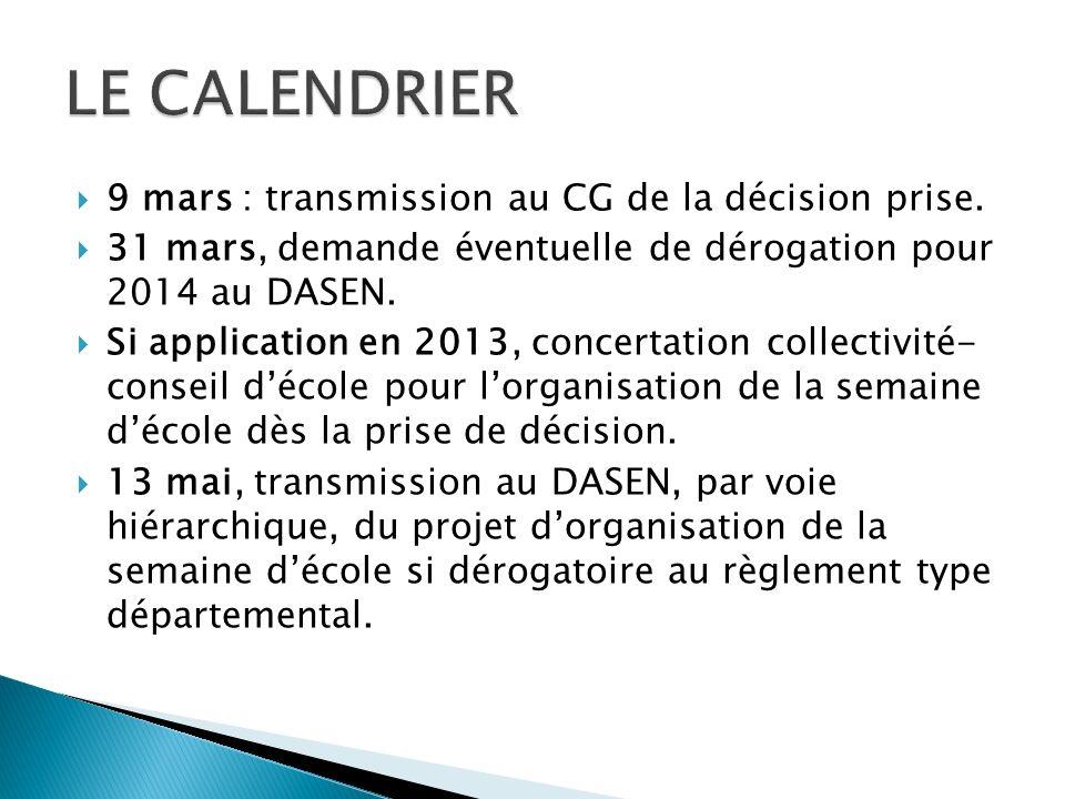 9 mars : transmission au CG de la décision prise.