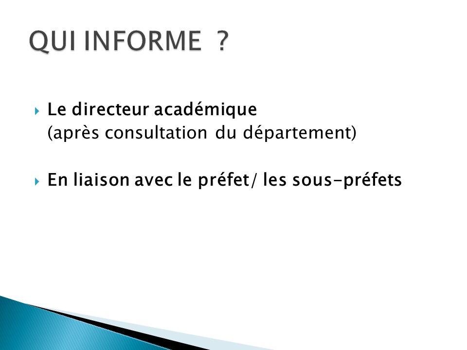 Le directeur académique (après consultation du département) En liaison avec le préfet/ les sous-préfets