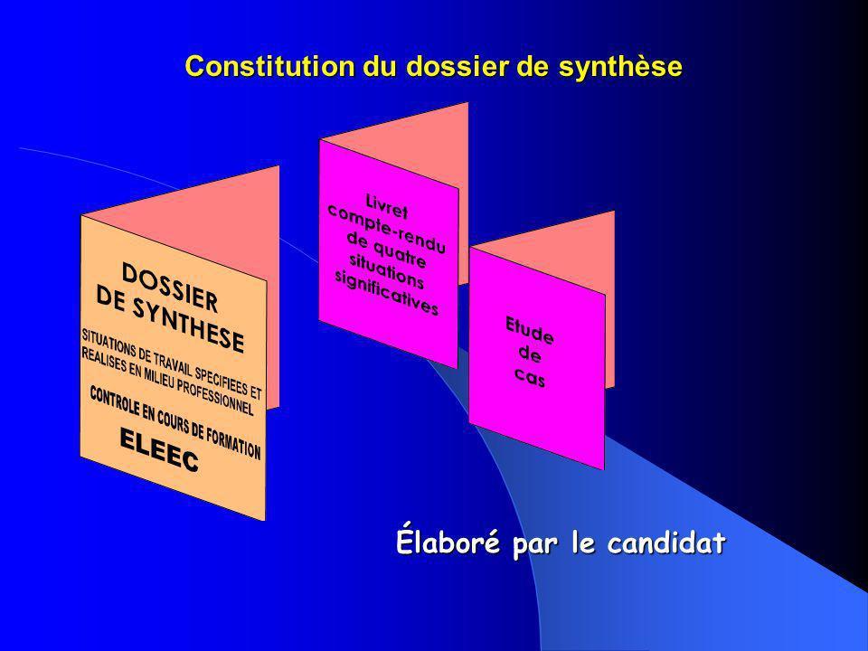 Constitution du dossier de synthèse Élaboré par le candidat