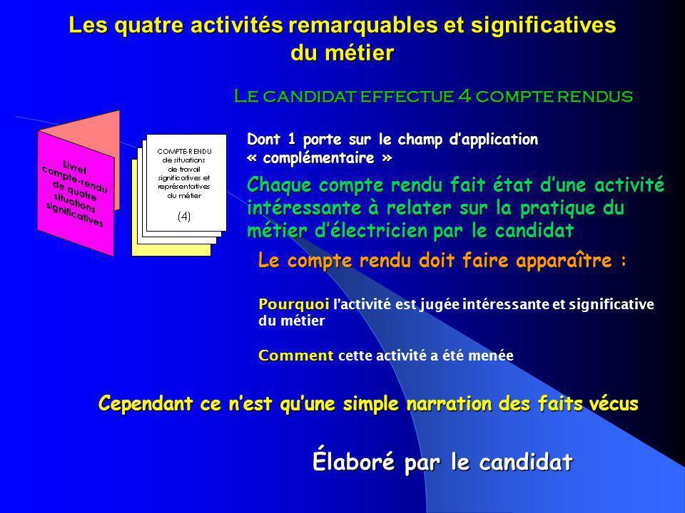 Les quatre activités remarquables et significatives du métier Le candidat effectue 4 compte rendus Chaque compte rendu fait état dune activité intéres