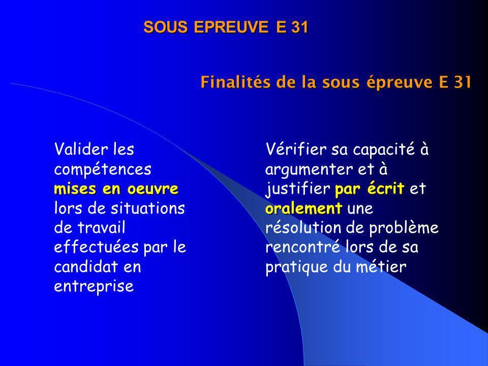 Finalités de la sous épreuve E 31 mises en oeuvre Valider les compétences mises en oeuvre lors de situations de travail effectuées par le candidat en