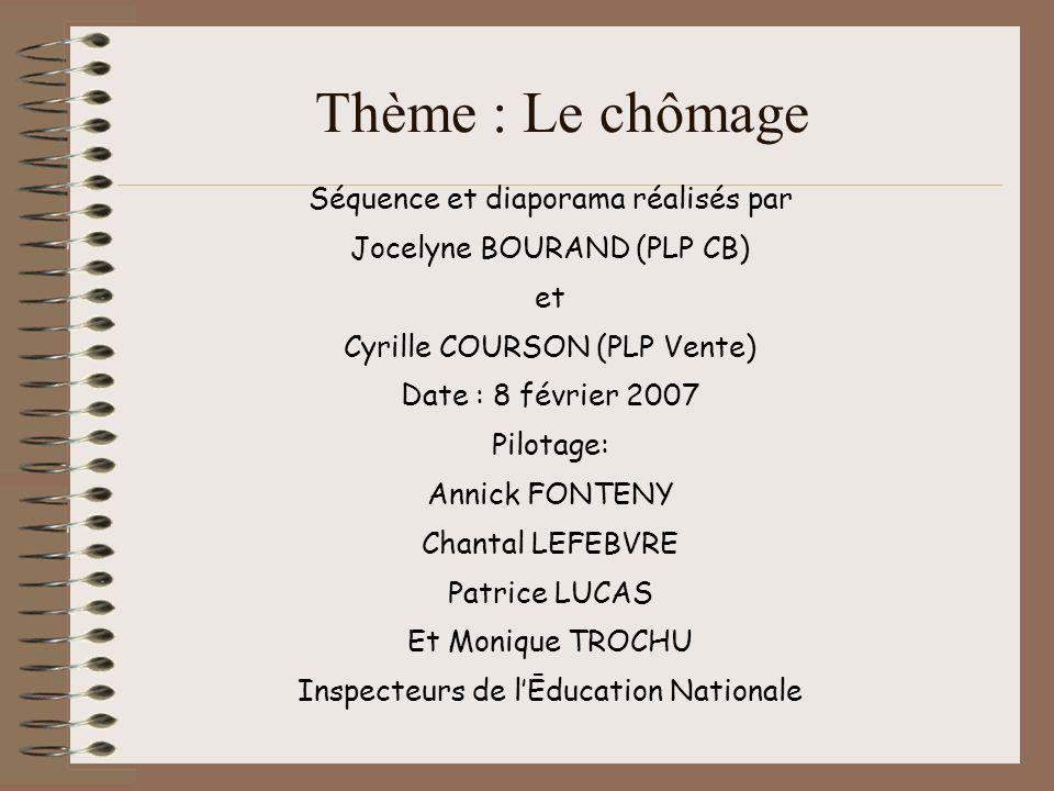 Thème : Le chômage Séquence et diaporama réalisés par Jocelyne BOURAND (PLP CB) et Cyrille COURSON (PLP Vente) Date : 8 février 2007 Pilotage: Annick