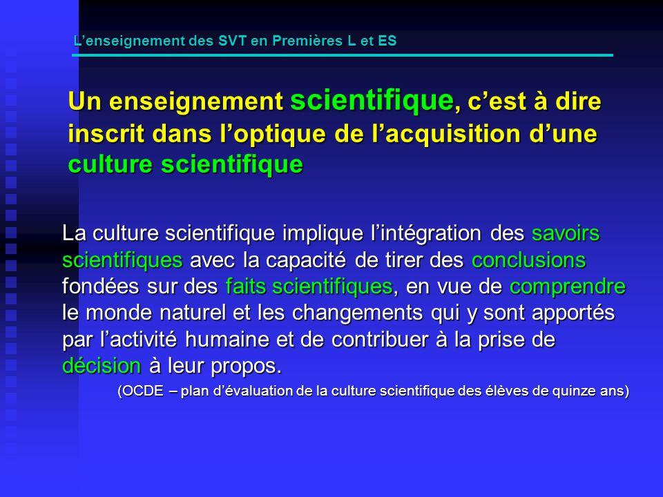 Les pratiques pédagogiques (2) Lenseignement des SVT en Premières L et ES Identifier (trace écrite) : les notions Les démarches ( argumentation) Privilégier la démarche dacquisition dun nouveau savoir