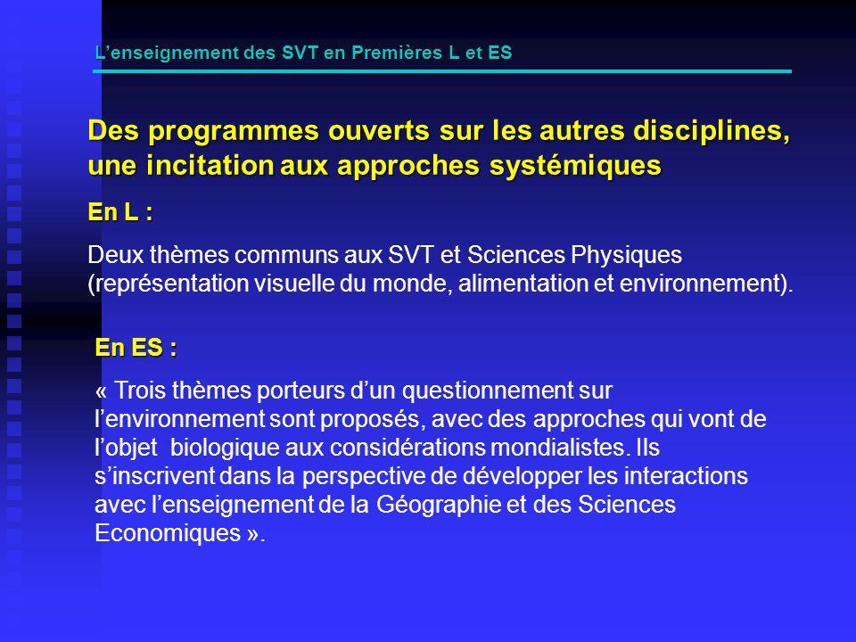 Des programmes ouverts sur les autres disciplines, une incitation aux approches systémiques Lenseignement des SVT en Premières L et ES En L : Deux thèmes communs aux SVT et Sciences Physiques (représentation visuelle du monde, alimentation et environnement).