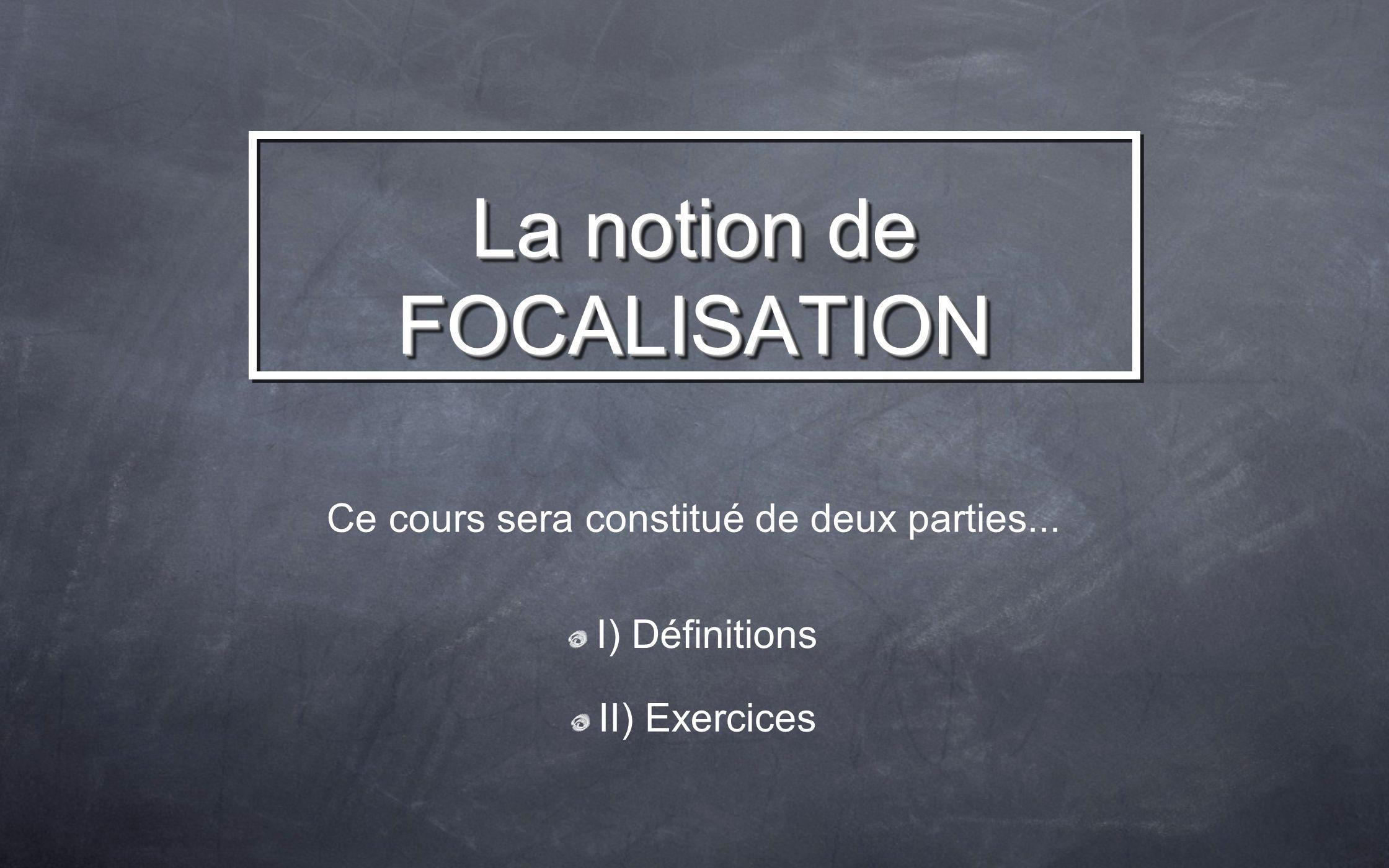 I) Définitions II) Exercices Ce cours sera constitué de deux parties...