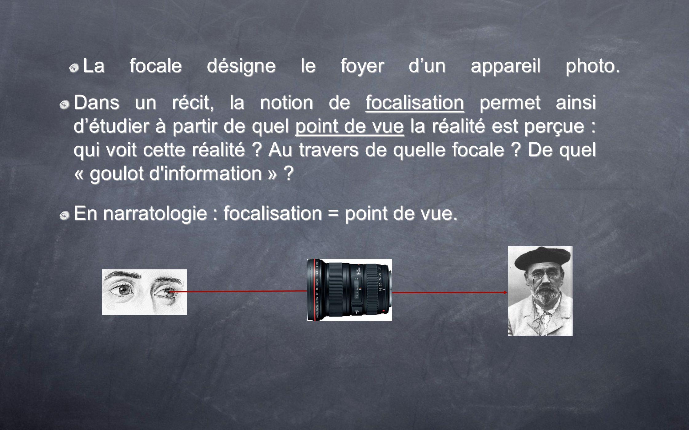La focale désigne le foyer dun appareil photo. Dans un récit, la notion de focalisation permet ainsi détudier à partir de quel point de vue la réalité