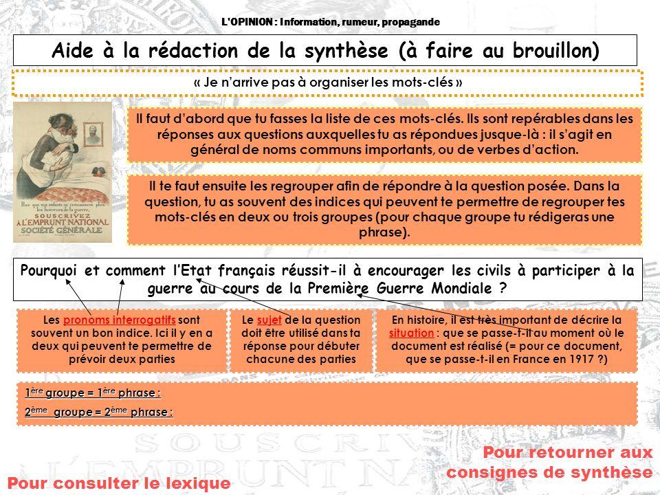 L'OPINION : Information, rumeur, propagande Aide à la rédaction de la synthèse (à faire au brouillon) « Je narrive pas à organiser les mots-clés » Il