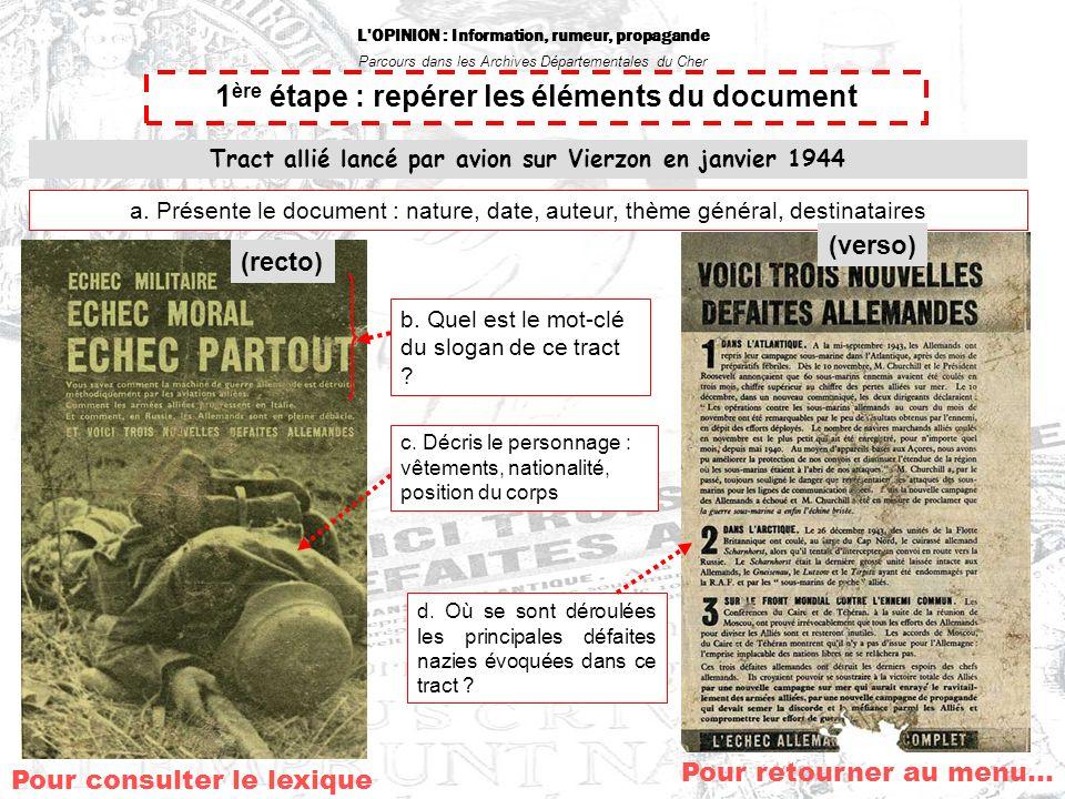 L OPINION : Information, rumeur, propagande Parcours dans les Archives Départementales du Cher Pour retourner au menu… 1 ère étape : repérer les éléments du document Tract allié lancé par avion sur Vierzon en janvier 1944 c.