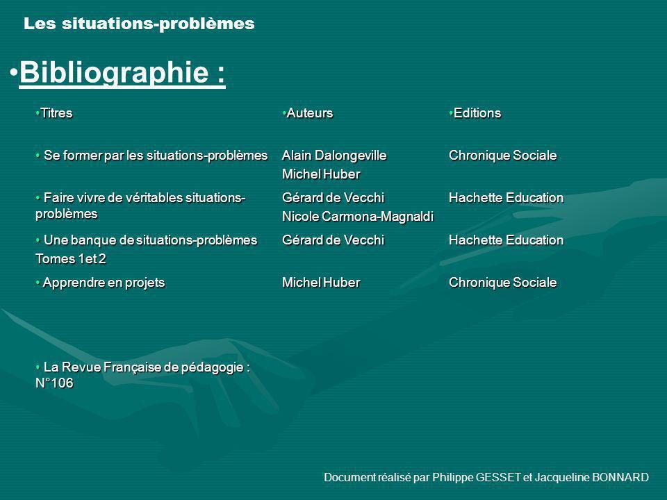 Les situations-problèmes Bibliographie : TitresTitres AuteursAuteurs EditionsEditions Se former par les situations-problèmes Se former par les situati