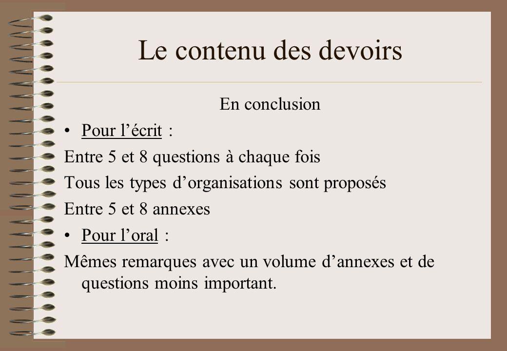 Le contenu des devoirs En conclusion Pour lécrit : Entre 5 et 8 questions à chaque fois Tous les types dorganisations sont proposés Entre 5 et 8 annex