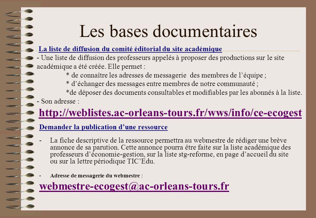 Les bases documentaires Demander la publication dune ressource -La fiche descriptive de la ressource permettra au webmestre de rédiger une brève annon