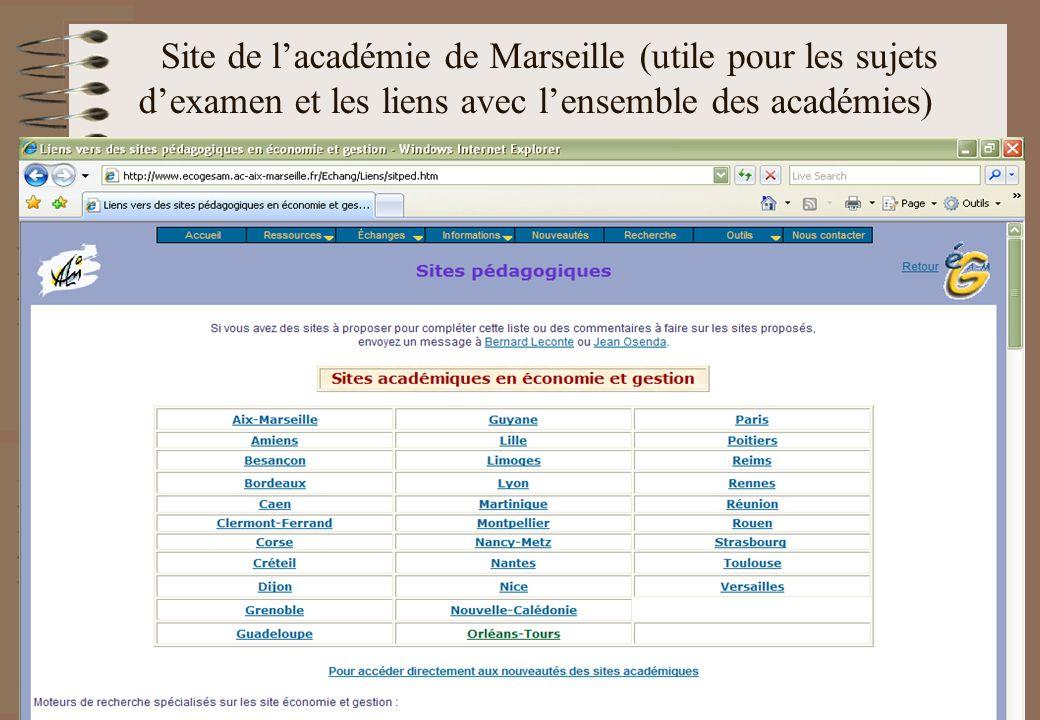 Site de lacadémie de Marseille (utile pour les sujets dexamen et les liens avec lensemble des académies)