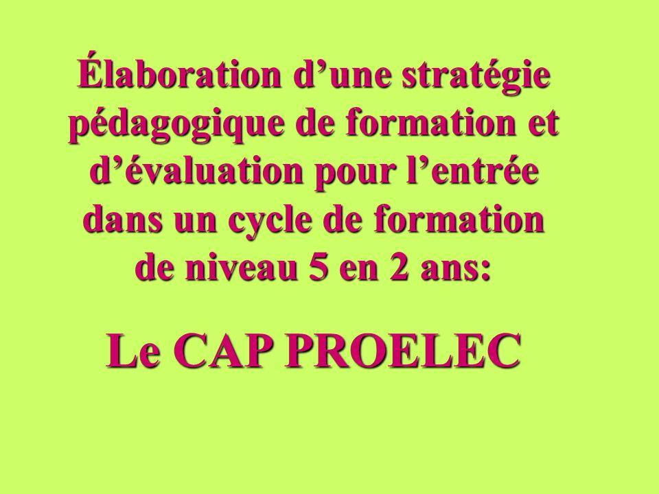 Élaboration dune stratégie pédagogique de formation et dévaluation pour lentrée dans un cycle de formation de niveau 5 en 2 ans: Le CAP PROELEC