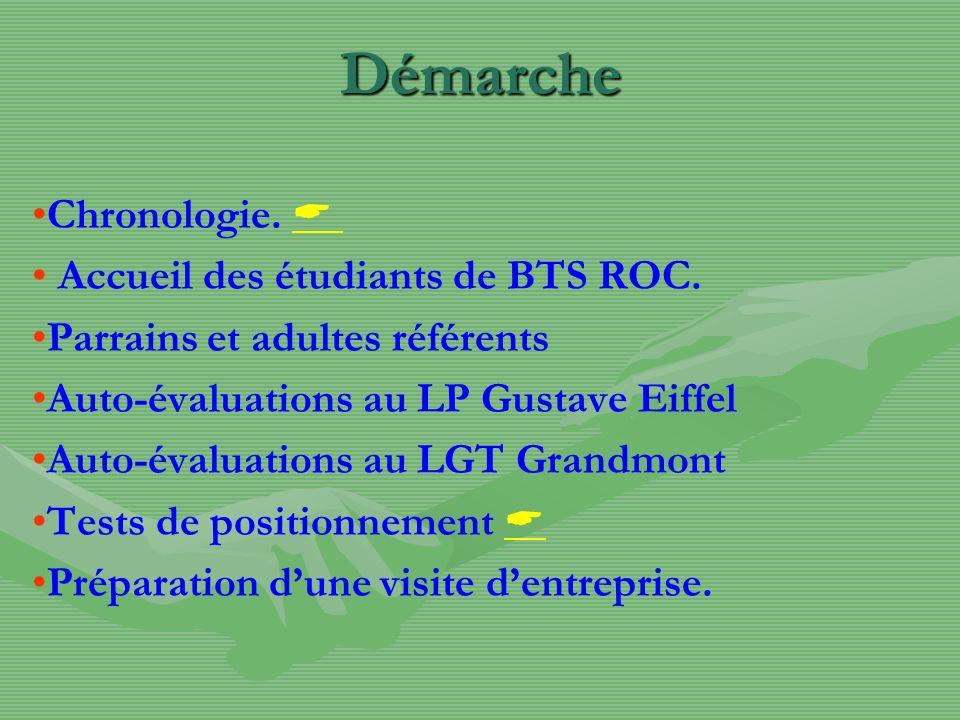 Démarche Chronologie. Accueil des étudiants de BTS ROC. Parrains et adultes référents Auto-évaluations au LP Gustave Eiffel Auto-évaluations au LGT Gr
