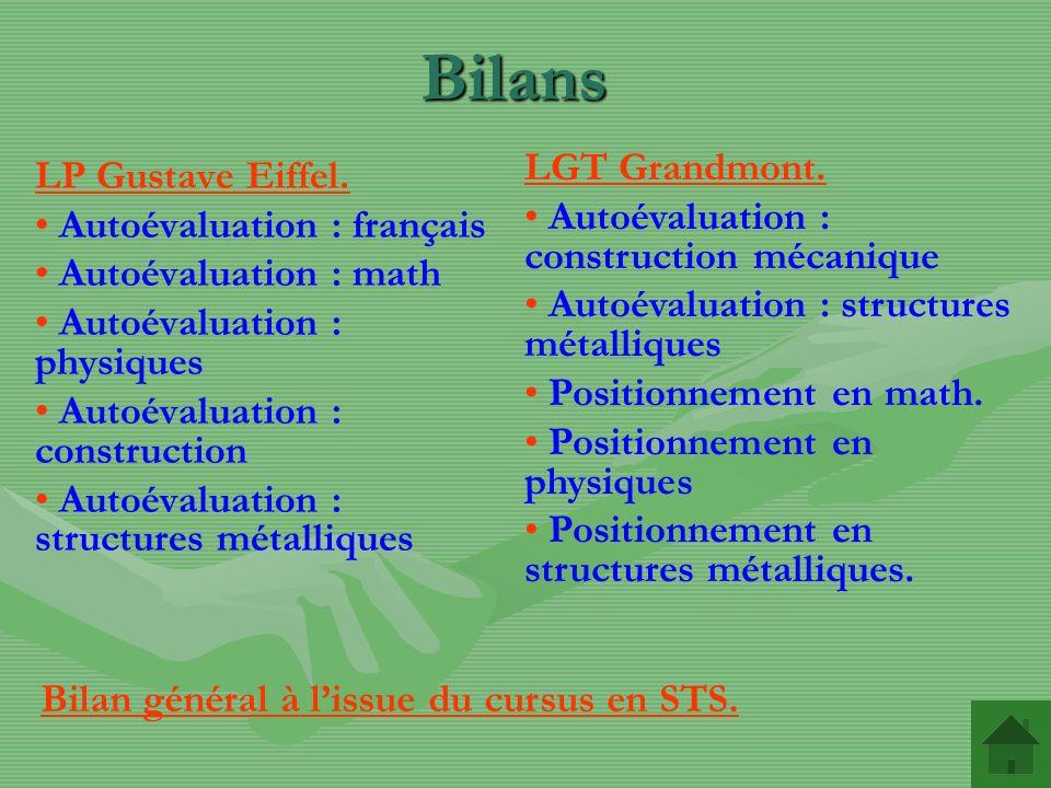 Bilans LP Gustave Eiffel. Autoévaluation : français Autoévaluation : math Autoévaluation : physiques Autoévaluation : construction Autoévaluation : st