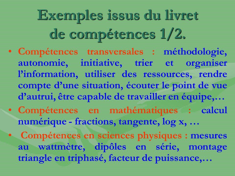 Exemples issus du livret de compétences 2/2.