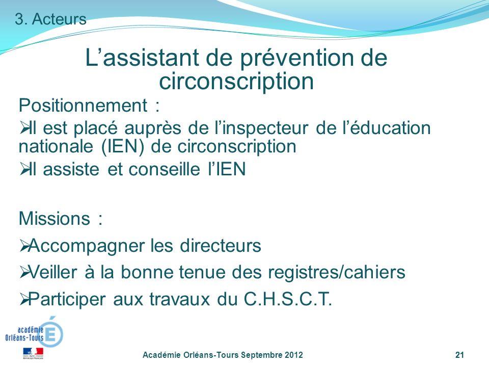 21 Lassistant de prévention de circonscription Académie Orléans-Tours Septembre 201221 3.