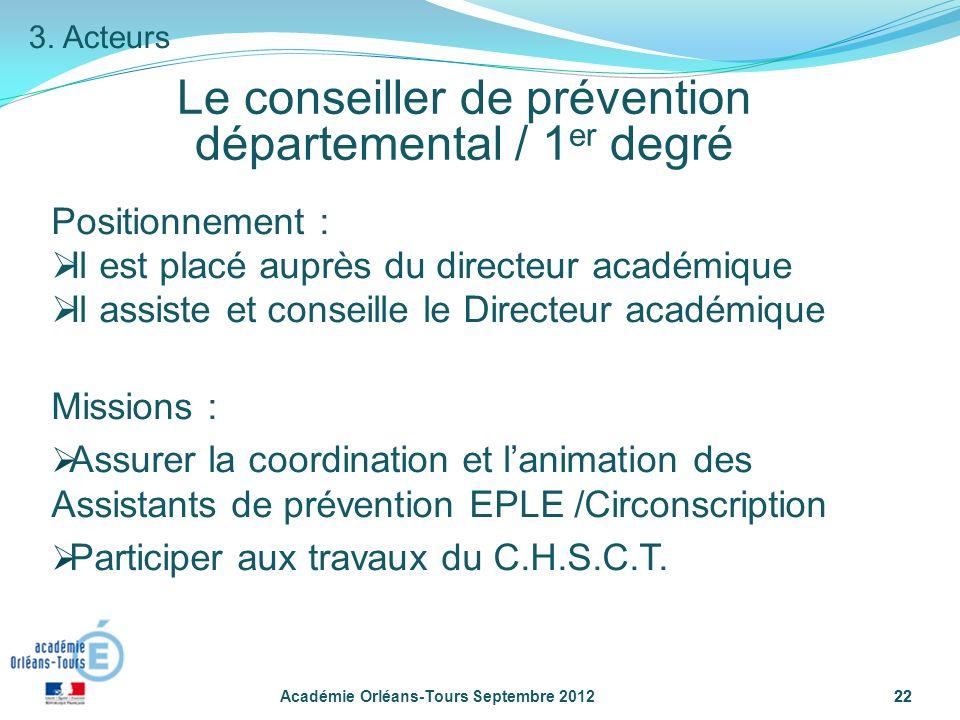 22 Le conseiller de prévention départemental / 1 er degré Académie Orléans-Tours Septembre 201222 3.