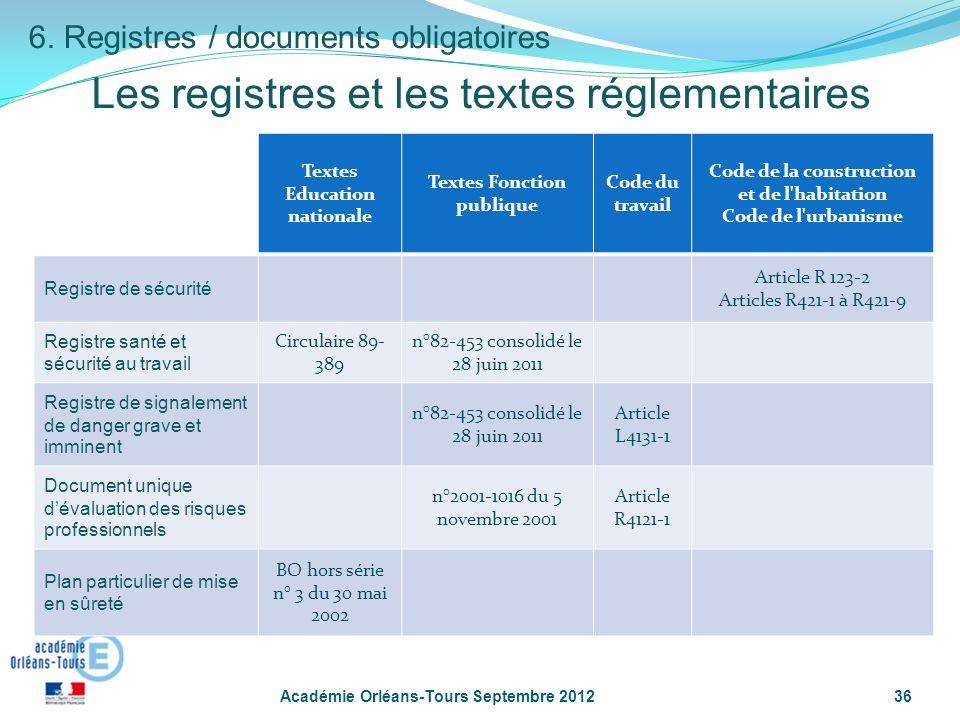 Les registres et les textes réglementaires Académie Orléans-Tours Septembre 201236 6.