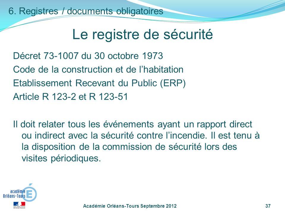 Le registre de sécurité Décret 73-1007 du 30 octobre 1973 Code de la construction et de lhabitation Etablissement Recevant du Public (ERP) Article R 123-2 et R 123-51 Il doit relater tous les événements ayant un rapport direct ou indirect avec la sécurité contre lincendie.