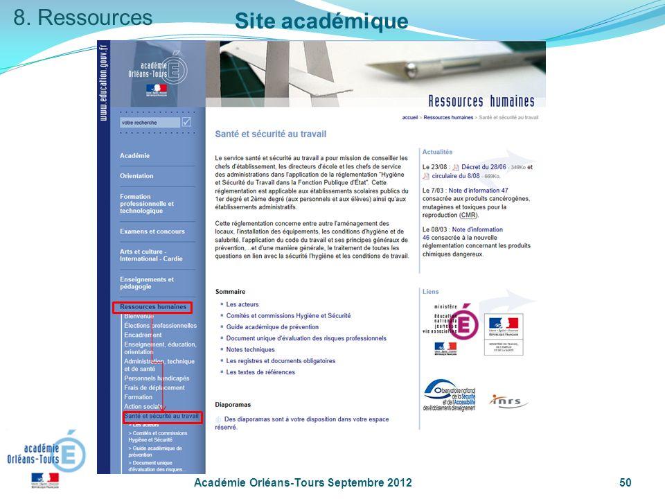 Académie Orléans-Tours Septembre 201250 Site académique 8. Ressources