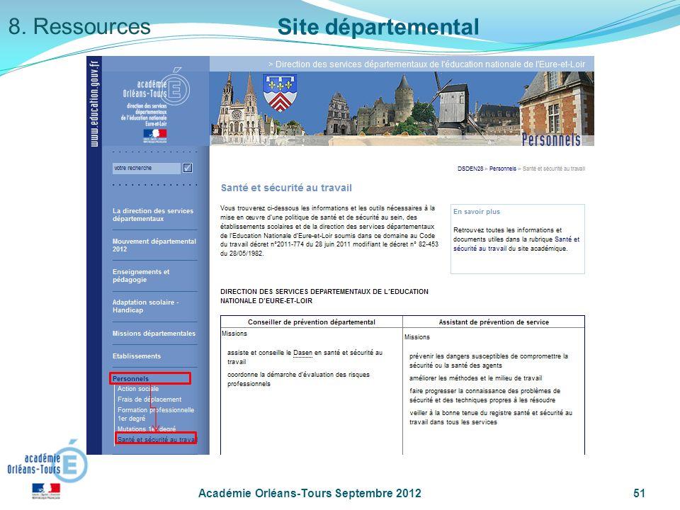 Académie Orléans-Tours Septembre 201251 Site départemental 8. Ressources