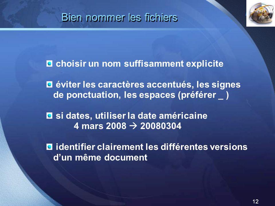 LOGO 12 Bien nommer les fichiers choisir un nom suffisamment explicite éviter les caractères accentués, les signes de ponctuation, les espaces (préfér