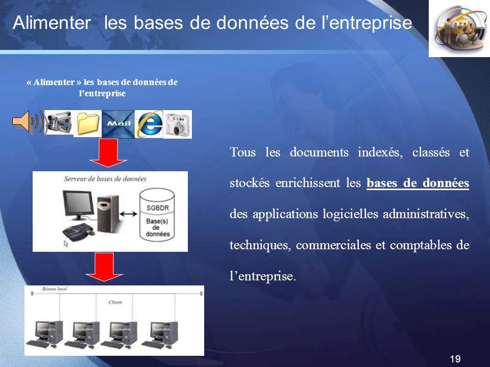 LOGO 19 Alimenter les bases de données de lentreprise « Alimenter » les bases de données de lentreprise Tous les documents indexés, classés et stockés