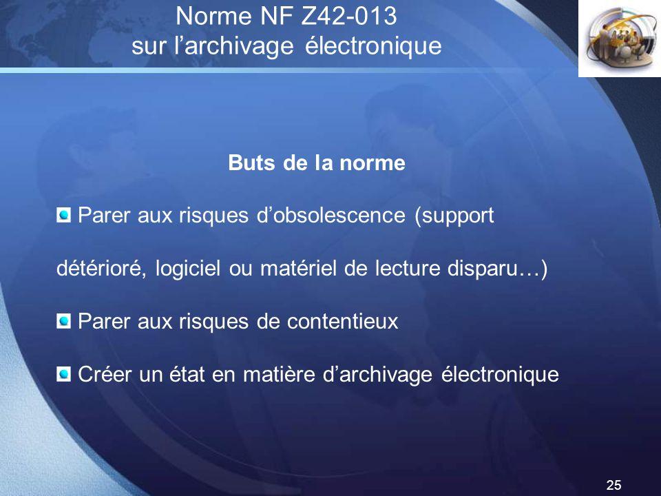 LOGO 25 Norme NF Z42-013 sur larchivage électronique Buts de la norme Parer aux risques dobsolescence (support détérioré, logiciel ou matériel de lect