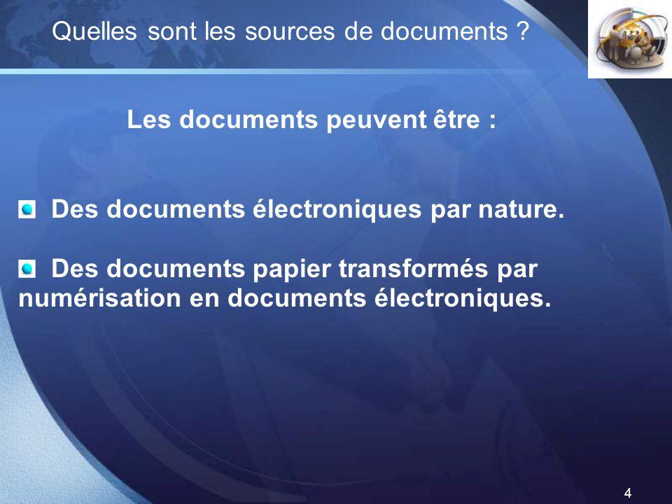 LOGO 4 Quelles sont les sources de documents ? Les documents peuvent être : Des documents électroniques par nature. Des documents papier transformés p