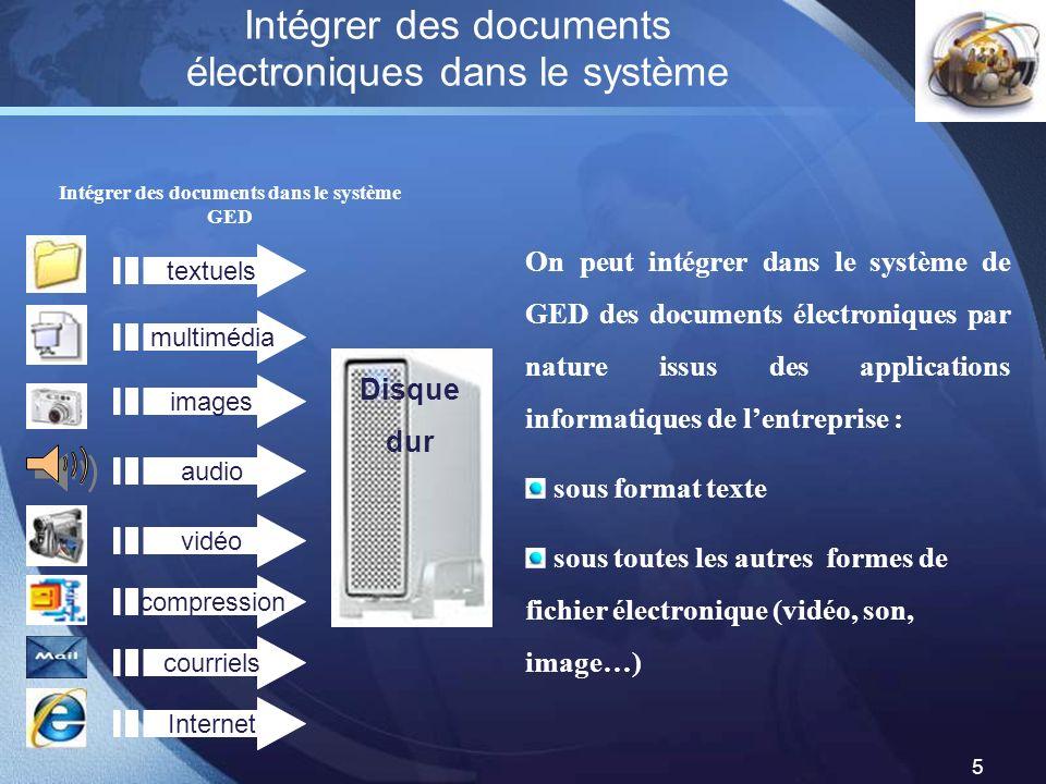 LOGO 5 Intégrer des documents électroniques dans le système Intégrer des documents dans le système GED On peut intégrer dans le système de GED des doc