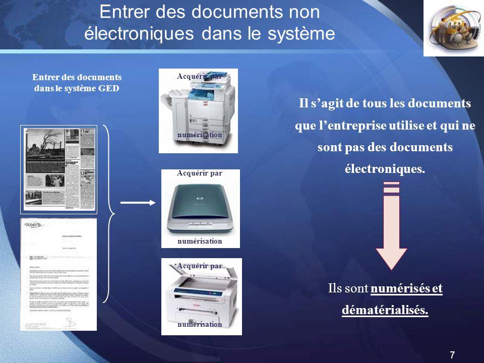 LOGO 7 Entrer des documents non électroniques dans le système Entrer des documents dans le système GED Il sagit de tous les documents que lentreprise