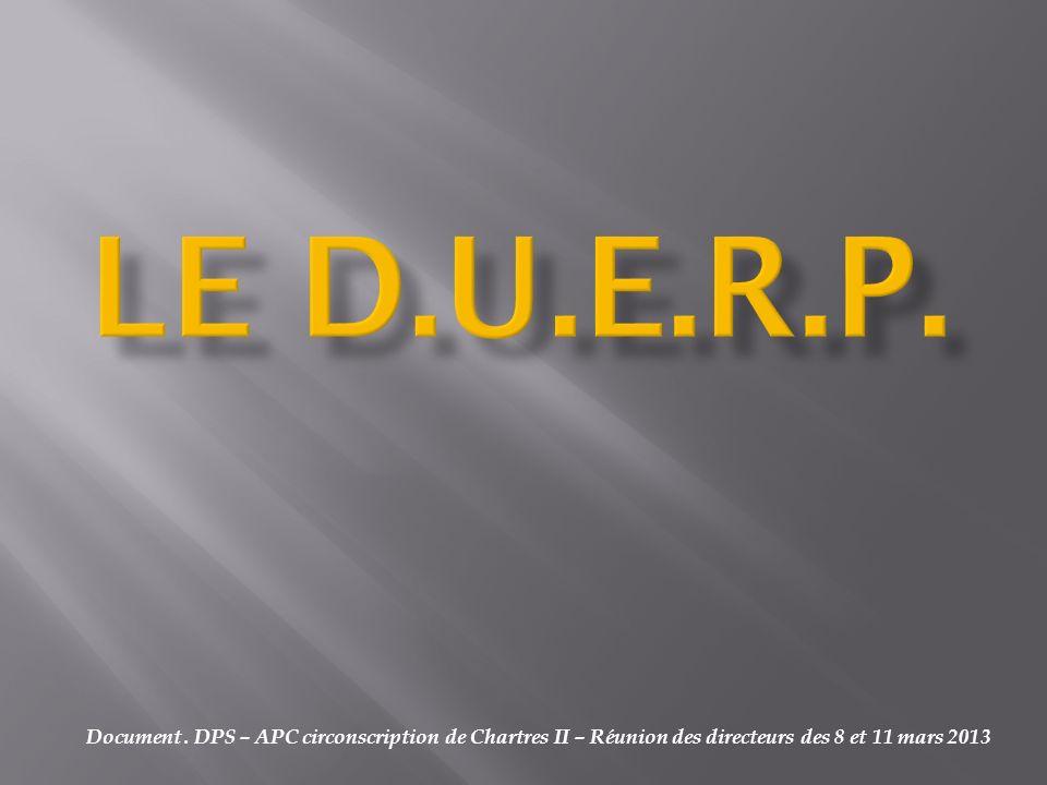 Document. DPS – APC circonscription de Chartres II – Réunion des directeurs des 8 et 11 mars 2013