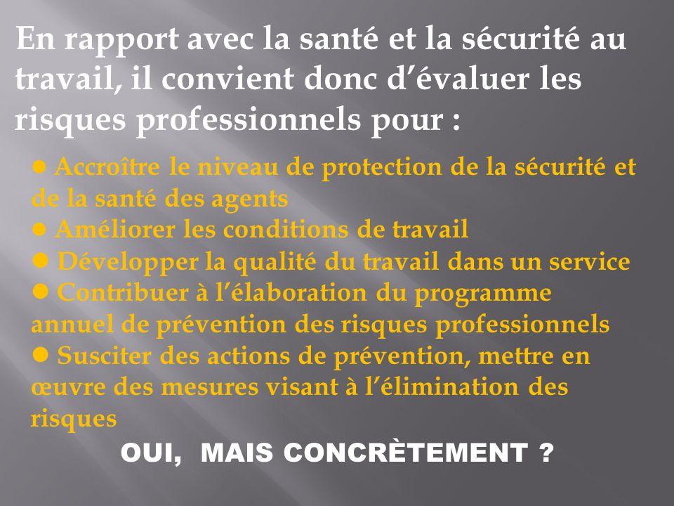 En rapport avec la santé et la sécurité au travail, il convient donc dévaluer les risques professionnels pour : Accroître le niveau de protection de l