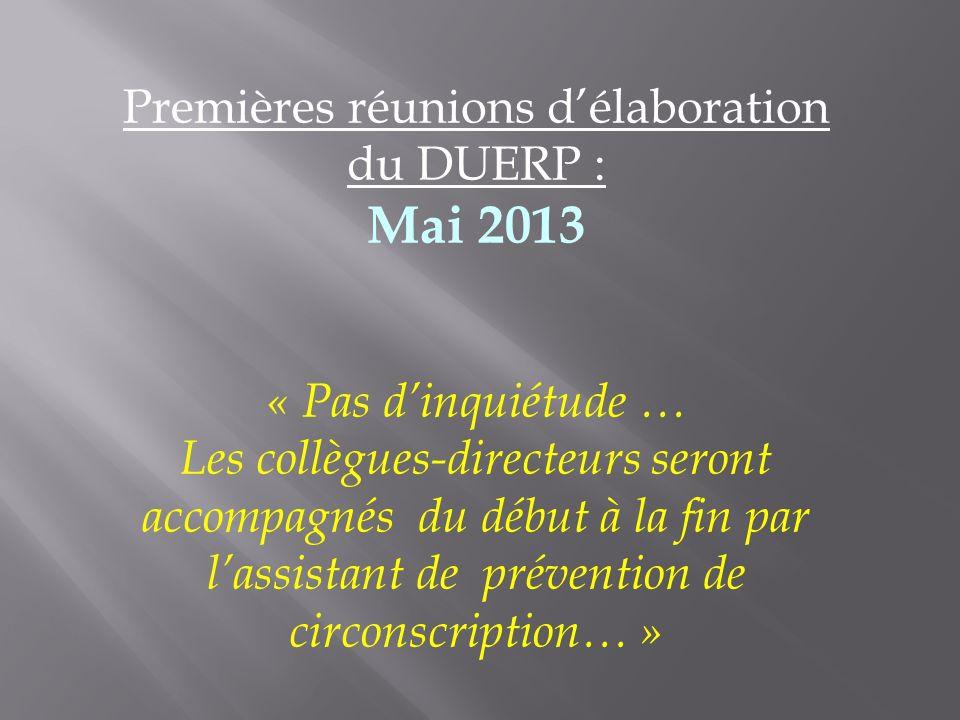 Premières réunions délaboration du DUERP : Mai 2013 « Pas dinquiétude … Les collègues-directeurs seront accompagnés du début à la fin par lassistant d