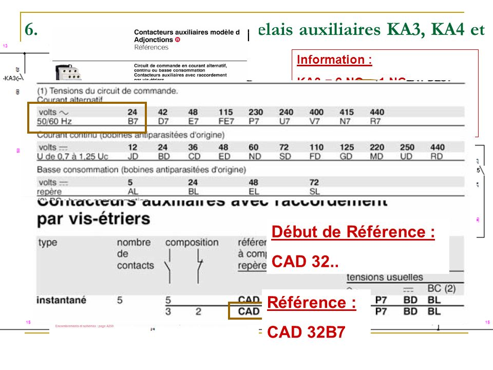 6.Effectuez le choix des relais auxiliaires KA3, KA4 et KA5 (raccordement par vis-étrier). Information : KA3 = 2 NO + 1 NC KA4 = 2 NO + 1NC KA5 = 1 NO