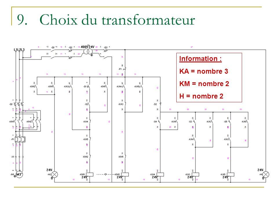 9.Choix du transformateur Information : KA = nombre 3 KM = nombre 2 H = nombre 2