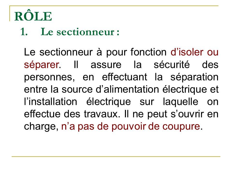RÔLE 1.Le sectionneur : Le sectionneur à pour fonction disoler ou séparer. Il assure la sécurité des personnes, en effectuant la séparation entre la s