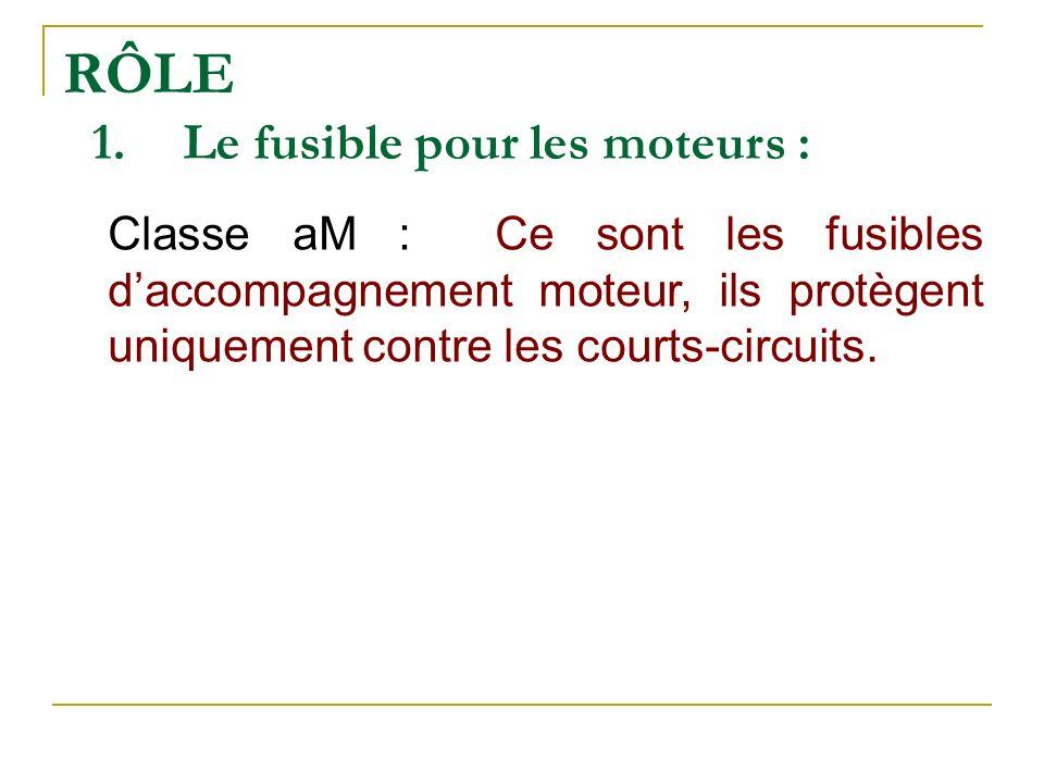 RÔLE 1.Le fusible pour les moteurs : Classe aM : Ce sont les fusibles daccompagnement moteur, ils protègent uniquement contre les courts-circuits.