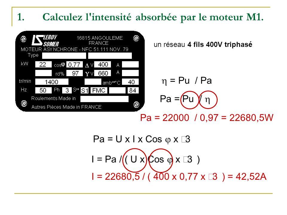 1.Calculez l'intensité absorbée par le moteur M1. = Pu / Pa Pa = Pu / Pa = 22000 / 0,97 = 22680,5W Pa = U x I x Cos x 3 I = Pa / ( U x Cos x 3 ) I = 2