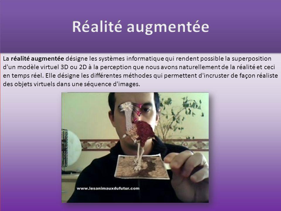 La réalité augmentée désigne les systèmes informatique qui rendent possible la superposition d'un modèle virtuel 3D ou 2D à la perception que nous avo