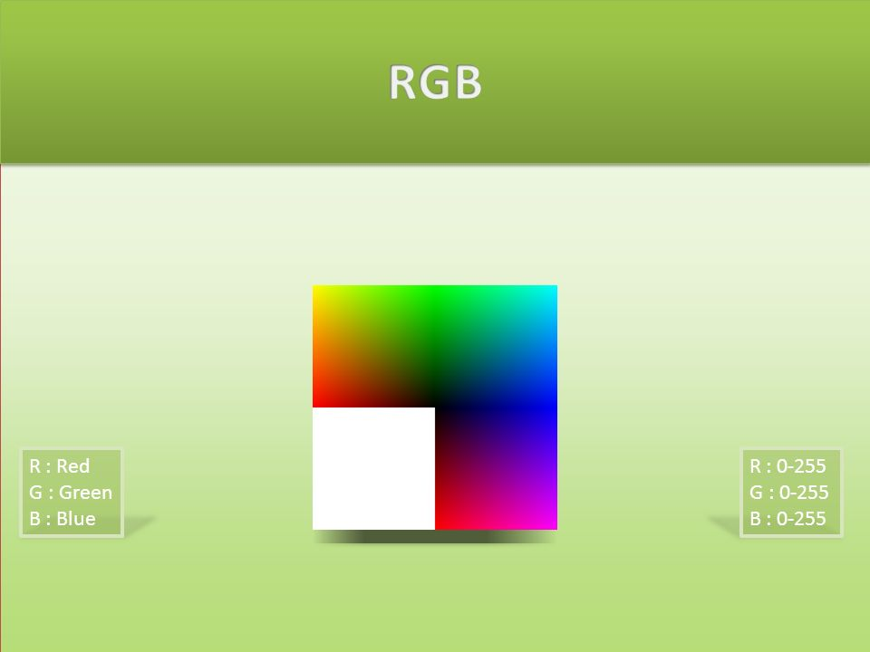 R : 0-255 G : 0-255 B : 0-255 R : Red G : Green B : Blue